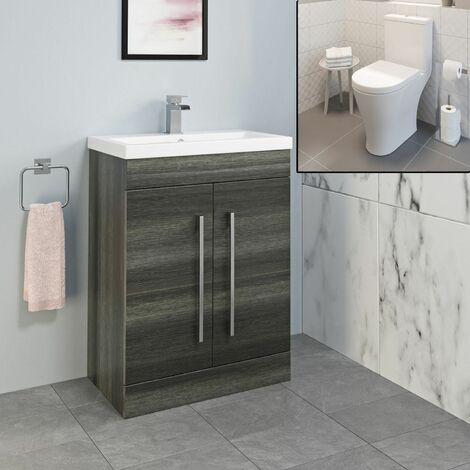 600mm Bathroom Charcoal Grey Vanity Unit Basin Sink Close Coupled Toilet Modern
