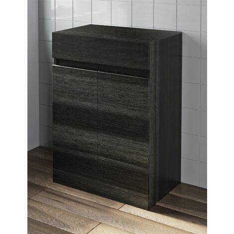 600mm Bathroom Countertop Vanity Door Unit Floor Standing Charcoal Grey