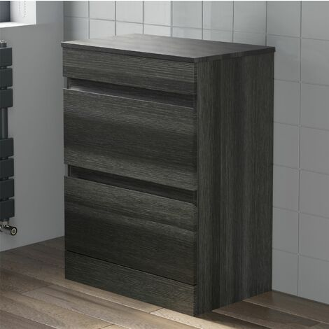 600mm Bathroom Countertop Vanity Drawer Unit Floor Standing Charcoal Grey