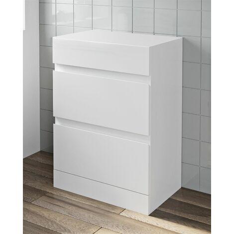 600mm Bathroom Countertop Vanity Drawer Unit Floor Standing White Gloss