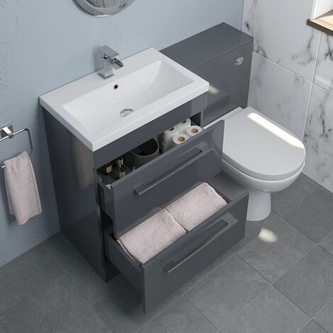 600mm Bathroom Drawer Vanity Unit Basin Concealed Cistern Toilet WC Gloss Grey