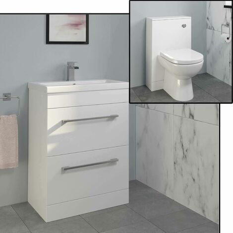 600mm Bathroom Drawer Vanity Unit Basin Concealed Cistern Toilet WC Gloss White