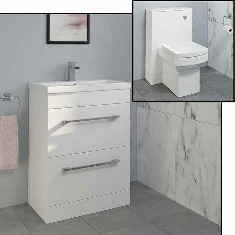 600mm Bathroom Drawer Vanity Unit Basin Toilet Concealed Cistern Gloss White