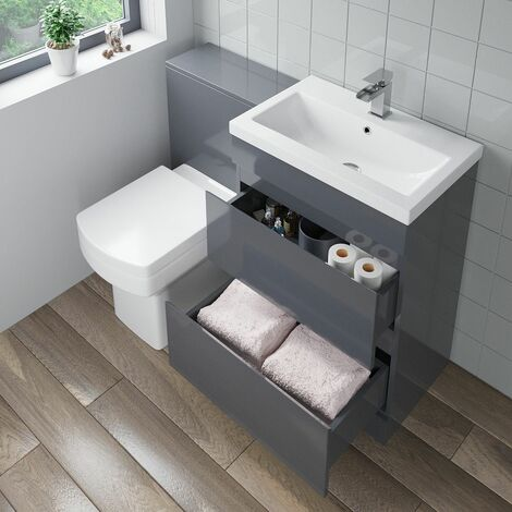 600mm Bathroom Drawer Vanity Unit Basin Toilet Modern Soft Close Seat Gloss Grey