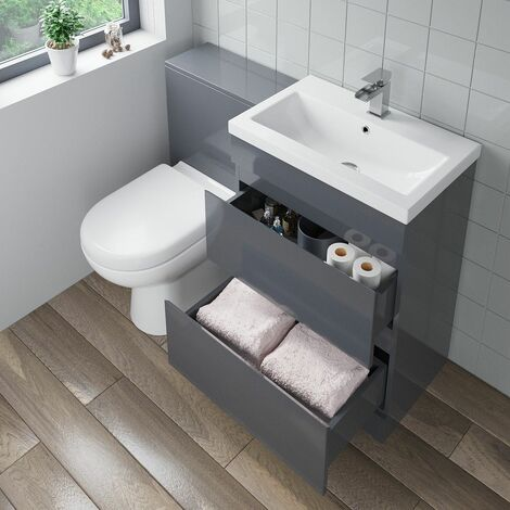 600mm Bathroom Drawer Vanity Unit Basin Toilet Soft Close Seat Modern Gloss Grey