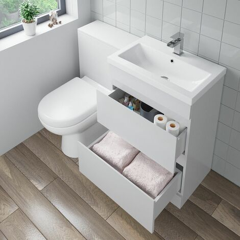 600mm Bathroom Drawer Vanity Unit Basin Toilet Soft Close Seat WC Gloss White