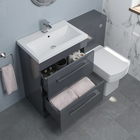 600mm Bathroom Drawer Vanity Unit Basin Toilet WC Concealed Cistern Gloss Grey