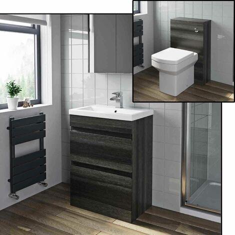 600mm Bathroom Drawer Vanity Unit Basin Toilet WC Soft Close Seat Charcoal Grey