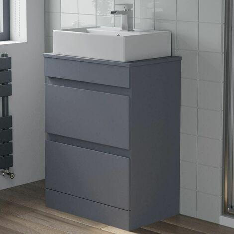 600mm Bathroom Floor Standing Vanity Unit Countertop Basin Gloss Grey