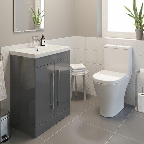 600mm Bathroom Gloss Grey Vanity Unit Basin Sink & Modern Close Coupled Toilet