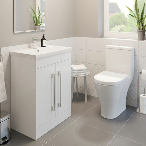 600mm Bathroom Gloss White Vanity Unit Basin Sink Modern Close Coupled Toilet