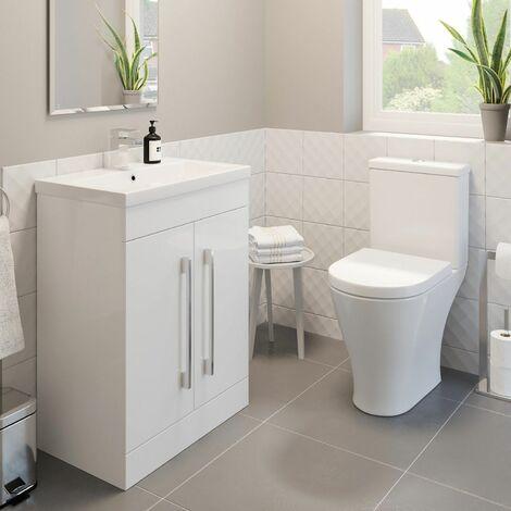 600mm Bathroom Gloss White Vanity Unit Basin Sink Modern Close Coupled Toilet