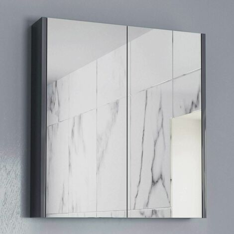 600mm Bathroom Mirror Cabinet 2 Door Cupboard Wall Mounted Grey