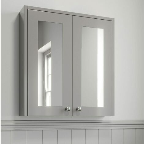 600mm Bathroom Mirror Cabinet 2 Door Wall Hung Grey Traditional