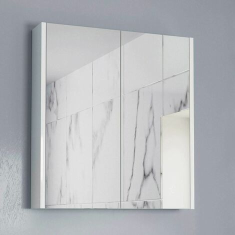 600mm Bathroom Mirror Cabinet Two Door Cupboard Wall Hung White