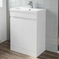 600mm Bathroom Vanity Unit Basin 2 Door Cabinet Unit Modern White
