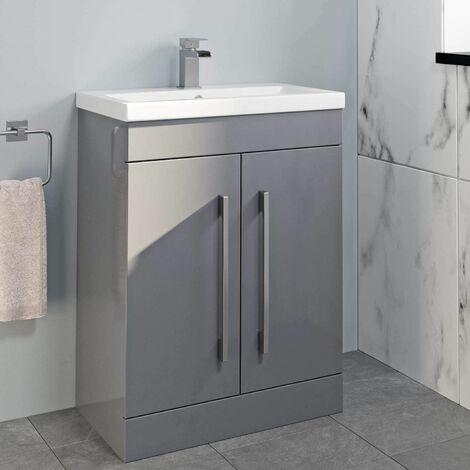 "main image of ""600mm Bathroom Vanity Unit Basin Cabinet Unit Grey Modern Stylish"""
