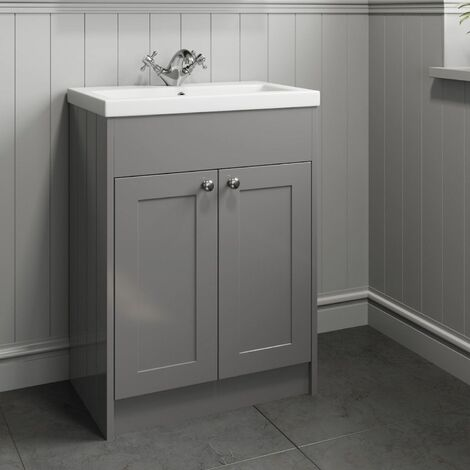 600mm Bathroom Vanity Unit Basin Cabinet Unit Grey Traditional