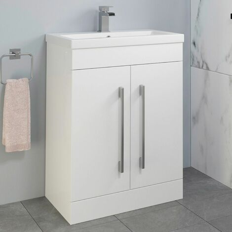 600mm Bathroom Vanity Unit Basin Cabinet Unit White Contemporary