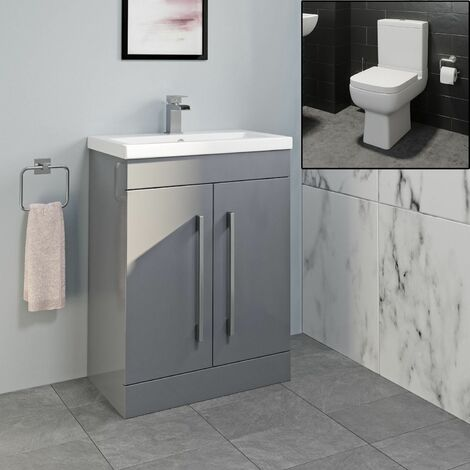 600mm Bathroom Vanity Unit Basin Close Coupled Toilet WC Gloss Grey Modern
