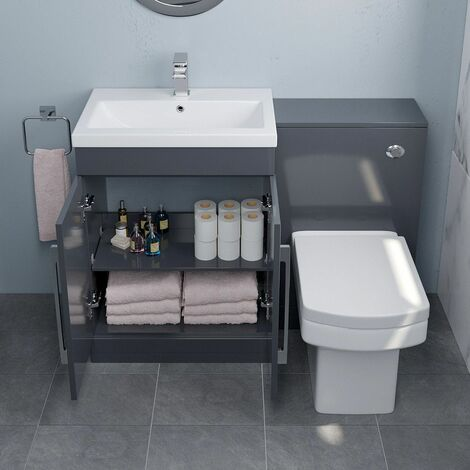 """main image of """"600mm Bathroom Vanity Unit Basin Concealed Cistern Square Toilet WC Gloss Grey"""""""