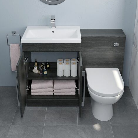 600mm Bathroom Vanity Unit Basin Concealed Cistern Toilet Charcoal Grey Modern