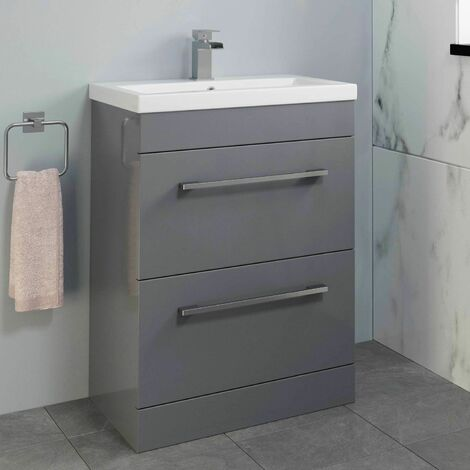 600mm Bathroom Vanity Unit Basin Drawer Cabinet Contemporary Grey