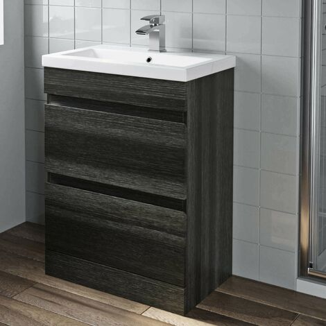 600mm Bathroom Vanity Unit Basin Drawer Cabinet Unit Charcoal Grey
