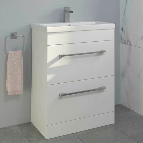 600mm Bathroom Vanity Unit Basin Drawer Cabinet Unit Gloss White
