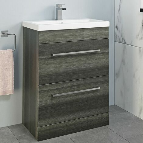 600mm Bathroom Vanity Unit Basin Drawer Cabinet Unit Modern Grey