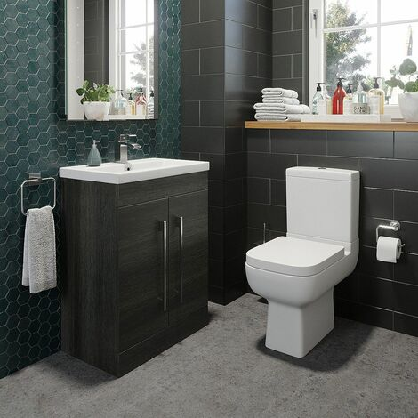 600mm Bathroom Vanity Unit Basin & Modern Close Coupled Toilet WC Charcoal Grey