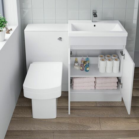 600mm Bathroom Vanity Unit Basin Soft Close Square Toilet Gloss White Modern