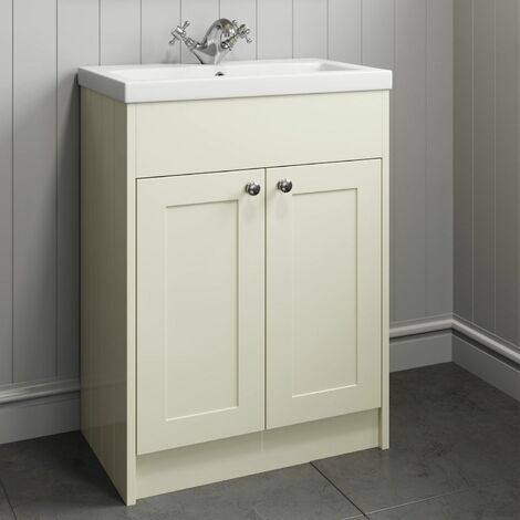 600mm Bathroom Vanity Unit Basin Storage Cabinet Ivory Traditional