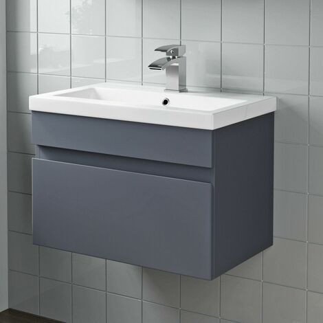 600mm Bathroom Vanity Unit Basin Wall Hung Cabinet Unit Gloss Grey