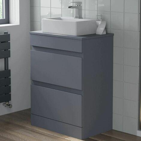 600mm Bathroom Vanity Unit Countertop Basin Floor Standing Gloss Grey