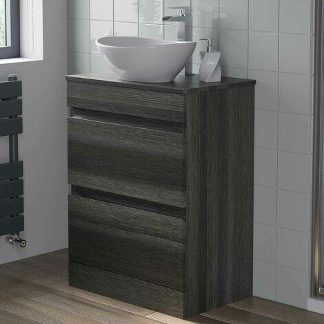 600mm Bathroom Vanity Unit Countertop Oval Basin Charcoal Grey