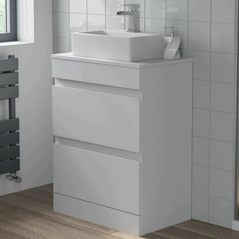 600mm Bathroom Vanity Unit Countertop Rectangular Basin Floor Standing White