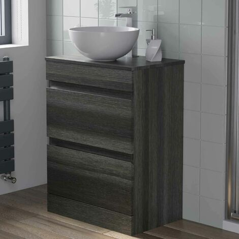 600mm Bathroom Vanity Unit Countertop Round Basin Charcoal Grey