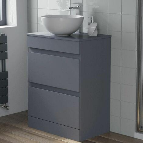 600mm Bathroom Vanity Unit Countertop Round Basin Floor Standing Gloss Grey