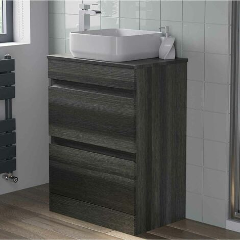 600mm Bathroom Vanity Unit Countertop Square Basin Charcoal Grey