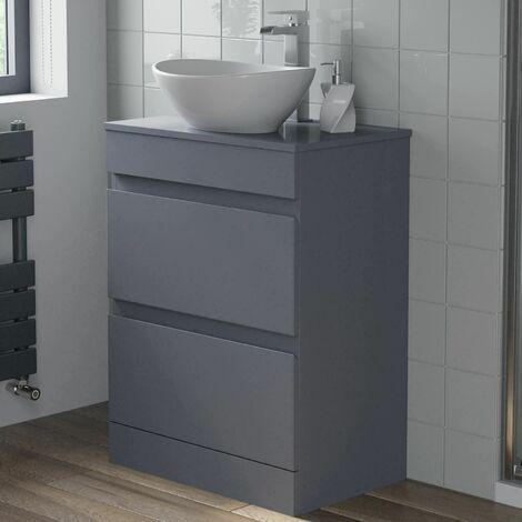600mm Bathroom Vanity Unit Floor Standing Countertop Oval Basin Gloss Grey
