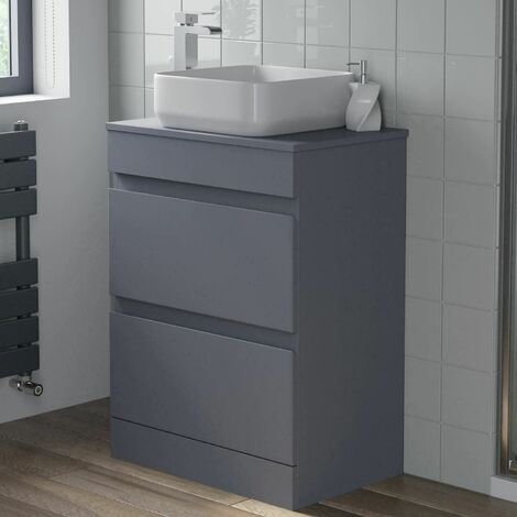 600mm Bathroom Vanity Unit Floor Standing Countertop Square Basin Gloss Grey
