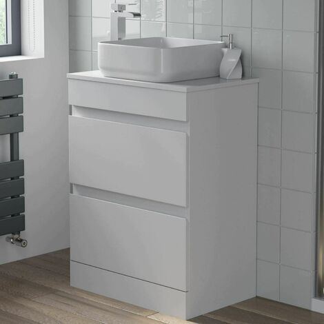 600mm Bathroom Vanity Unit Floor Standing Countertop Square Basin Gloss White