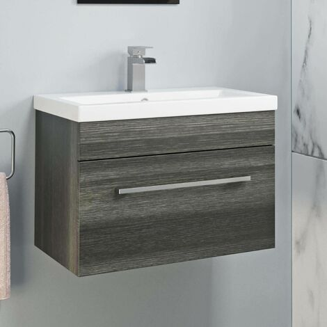 600mm Bathroom Wall Hung Vanity Unit Basin Cabinet Modern Grey