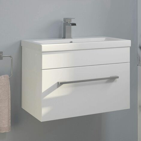 600mm Bathroom Wall Hung Vanity Unit Basin Cabinet Unit Gloss White