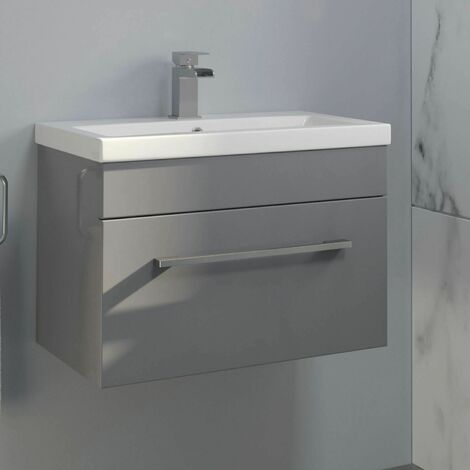 600mm Bathroom Wall Hung Vanity Unit Basin Cabinet Unit Modern Grey
