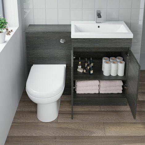 600mm Charcoal Grey Bathroom Vanity Unit Basin Soft Close Seat Toilet WC Modern