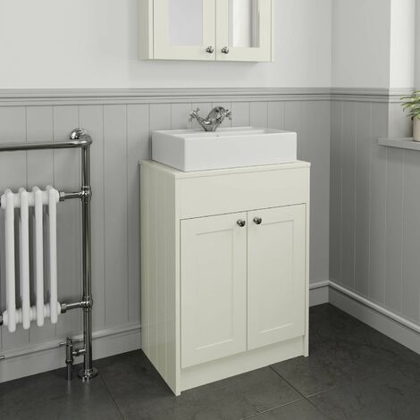 600mm Cream Traditional Vanity Unit Countertop Basin Bathroom Furniture