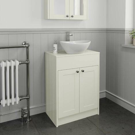 600mm Cream Traditional Vanity Unit Countertop Bathroom Furniture Round Basin