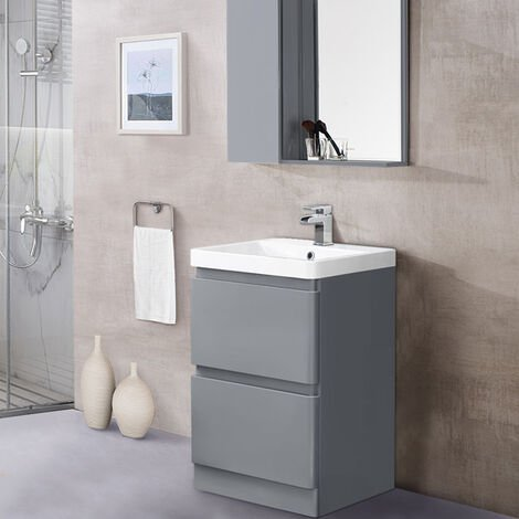 600mm Floor Standing 2 Drawer Vanity Unit Basin Storage Bathroom Furniture Gloss Grey